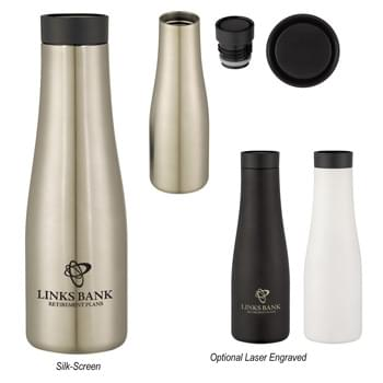 20 Oz. Stainless Steel Renew Bottle - Stainless Steel Outer And Inner | Double Wall Construction For Insulation Of Hot Or Cold Liquids | Vacuum Insulated | Unique Spill-Resistant, Push-Button Sip Through Lid | Push Lid Top To Drink, Push Again To Close | Multi-Flow Lid Helps Control Intake of Hot Or Cold Liquid | Non-Slip Bottom | Meets FDA Requirements | BPA Free | Hand Wash Recommended