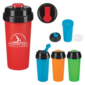 32 Oz. Typhoon Ultimate Shaker Bottle - High Density Polypropylene   | Screw On, Spill-Resistant Flip-Top Lid   | Measurement Scale In Ounces And Milliliters Makes Tracking Liquid Intake Easy  | Removable Strainer with Blades and Strain Allows Chopping and Mixing at the Same Time | Tight Locking Lid and Cap  | Leak-Proof   | Wide Opening Makes It Easy To Add Ice, Fruit or Mixes  | Meets FDA Requirements   | BPA Free   | Hand Wash Recommended