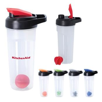 21 Oz. Jet Shaker Bottle - AS Material | Screw On, Spill-Resistant Flip-Top Lid   | Easy Carry Handle  | Measurement Scale In Ounces And Milliliters Makes Tracking Liquid Intake Easy  | Removable Agitator Ball Easily Mixes Powders Or Flavored Beverages  | Wide Opening Makes It Easy To Add Ice Or Mixes  | Meets FDA Requirements   | BPA Free   | Hand Wash Recommended