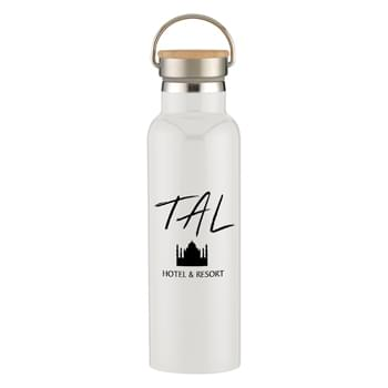 21 Oz. Liberty Stainless Steel Bottle With Wood Lid - Stainless Steel Inner and Outer  | Double Wall Construction For Insulation Of Hot Or Cold Liquids | Vacuum Insulated   | Perfect For Keeping Your Favorite Wine Colder For Hours | Screw On, Spill-Resistant Lid  | Wide Mouth Opening   | Easy Carry Handle   | Meets FDA Requirements   | BPA Free   | Hand Wash Recommended