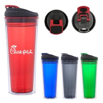 16 Oz. Sheer Tumbler - Acrylic Outer and Inner | Screw On, Spill-Resistant Flip-Top Lid | Meets FDA Requirements | BPA Free | Hand Wash Recommended