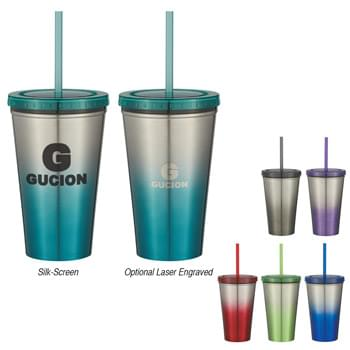 "16 Oz. Stainless Steel Double Wall Chroma Tumbler With Straw - Double Wall Construction For Insulation Of Hot Or Cold Liquids | Plastic Inner Liner | Comes With 9"" Matching Straw 