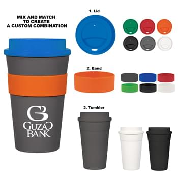 16 Oz. Travel Tumbler - Choose Your Own Color Combination   | Screw-On, Spill-Resistant Sip Through Lid  | Silicone Band For Easy Comfort Grip   | Meets FDA Requirements   | BPA Free   | Hand Wash Recommended