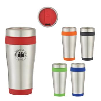 15 Oz. Stainless Steel Aspen Tumbler - Double Wall Construction For Insulation Of Hot Or Cold Liquids | Thumb-Slide Lid | Plastic Inner Liner | Screw On, Spill-Resistant Lid | BPA Free | Meets FDA Requirements | Hand Wash Recommended