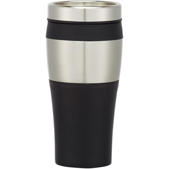 15 Oz. Terra Tumbler - Stainless Steel And Plastic Outer | Double Wall Construction For Insulation Of Hot Or Cold Liquids   | Screw On, Spill-Resistant Slide Action Lid | Plastic Inner Liner   | Meets FDA Requirements   | BPA Free   | Hand Wash Recommended