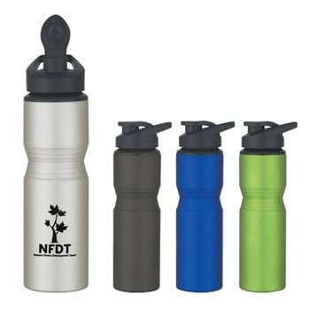 28 Oz. Aluminum Sports Bottle - Screw On, Spill-Resistant Sip Through Lid With Snap Closure | Meets FDA Requirements | BPA Free | Hand Wash Recommended