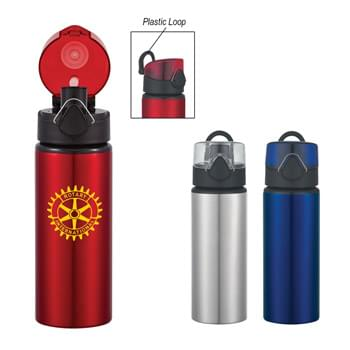 25 Oz. Aluminum Sports Bottle With Flip Top Lid - Clasp Locks Lid When Not In Use | Meets FDA Requirements | BPA Free | Push Button To Pop Lid | Plastic Loop For Carrying Or Attaching | Hand Wash Recommended