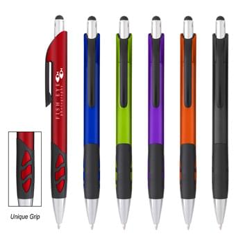 Sayer Stylus Pen - Plunger Action | Rubber Grip For Writing Comfort And Control | Stylus On Top