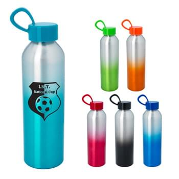 21 Oz. Aluminum Chroma Bottle - Screw-On, Spill-Resistant Lid   | Loop Handle For Carrying Or Attaching   | Wide Mouth Opening   | BPA Free   | Meets FDA requirements   | Hand Wash Recommended