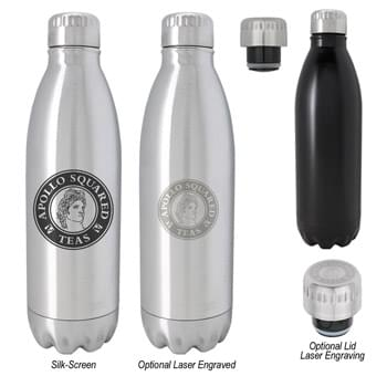 26 Oz. Stainless Steel Vacuum Bottle - Screw On, Spill-Resistant Lid | Wide Mouth Opening | Double Wall Construction For Insulation Of Hot And Cold Liquids | Vacuum Sealed | Keeps Drinks Cold Up To 24 Hours And Hot Up To 12 Hours | BPA Free | Meets FDA Requirements | Hand Wash Recommended