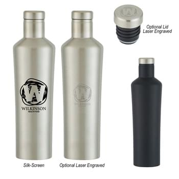 18 Oz. Dwindle Stainless Steel Bottle - Screw On, Spill-Resistant Lid | Double Wall Construction For Insulation Of Hot And Cold Liquids | Vacuum Sealed | Keeps Drinks Cold Up To 24 Hours And Hot Up To 12 Hours | Meets FDA Requirements | BPA Free | Hand Wash Recommended