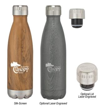 16 Oz. Stainless Steel Woodtone Vacuum Bottle - Screw On, Spill-Resistant Lid | Wide Mouth Opening | Double Wall Construction For Insulation Of Hot And Cold Liquids | Vacuum Sealed | Keeps Drinks Cold Up To 24 Hours And Hot Up To 12 Hours | BPA Free | Meets FDA Requirements | Hand Wash Recommended