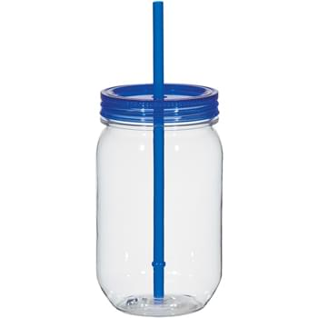 "25 Oz. Mason Jar With Matching Straw - Tritan Material | Single Wall | Screw-On Lid And Matching 9"" Straw 
