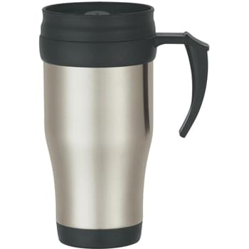 16 Oz. Stainless Steel Travel Mug With Slide Action Lid And Plastic Inner Liner - Double Wall Construction For Insulation Of Hot Or Cold Liquids | Meets FDA Requirements | BPA Free | Screw On, Spill Resistant Lid | Hand Wash Recommended