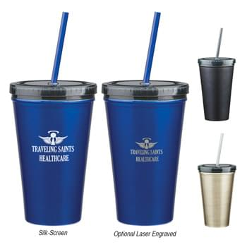 "16 Oz. Stainless Steel Double Wall Tumbler With Straw - Double Wall Construction For Insulation Of Hot Or Cold Liquids | Plastic Inner Liner | Comes With 9"" Matching Straw 