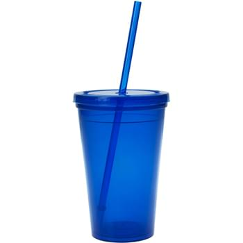 "16 Oz. Economy Double Wall Tumbler - Made With Up To 25% Post-Industrial Recycled Polypropylene Material | Matching Snap-On Lid And 9"" Straw 