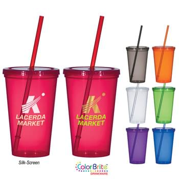 "20 Oz. Economy Single Wall Tumbler - Single-Wall Polypropylene Cup | Matching Snap-On Lid And 9"" Straw 