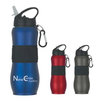 28 Oz. Stainless Steel Sport Grip Bottle - Screw On, Spill-Resistant Sip Top Lid With Black Carabiner | Rubber Grip | Meets FDA Requirements | BPA Free | Hand Wash Recommended