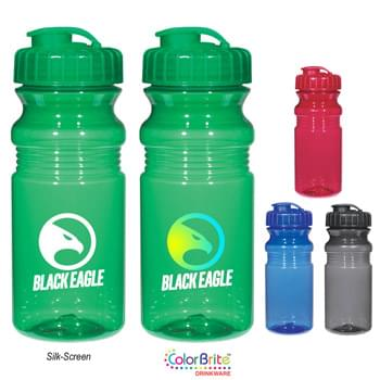Poly-Clear™ 20 Oz. Fitness Bottle With Super Sipper Lid - BPA Free | Proposition 65 Compliant | Contains No Lead | Made With PET Material | Meets FDA Requirements | Leak-Resistant Super Sipper Lid | Does Not Retain Odor Or Taste | Not For Hot Liquid Use | Made In The USA | Hand Wash Recommended