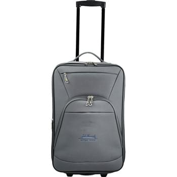 "Luxe 21"" Expandable Carry-On Luggage - This 21"" carry-on luggage has an expandable main compartment and a push-button retractable handle that locks in two different heights. Two exterior zippered pockets for additional storage. Interior straps and zippered compartment hold everything in place and the lightweight design make it easy to get around. Interior mesh divider allows you to keep your clothes separate. Top and side grab handles make it easier to carry. Includes luggage ID on back panel as well as a zippered pocket for easy stashing of you"