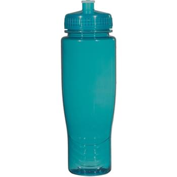 Poly-Clean™ 28 Oz. Plastic Bottle - BPA Free | Proposition 65 Compliant | Contains No Lead | Made With PET Material | Meets FDA Requirements | Leak-Resistant Push Pull Lid | Does Not Retain Odor Or Taste | Not For Hot Liquid Use | Made In The USA | Hand Wash Recommended