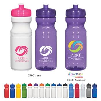 24 Oz. Poly-Clear Fitness Bottle - White and Translucent: Made With PET Material | Solid Colors: Made With Up To 25% Post-Industrial HDPE Material | Leak-Resistant Push Pull Lid | Does Not Retain Odor Or Taste | Not For Hot Liquid Use | Made In The USA | Proposition 65 Compliant | Contains No Lead | Meets FDA Requirements | BPA Free | Hand Wash Recommended