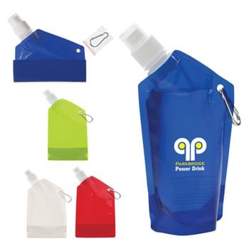 12 Oz. Collapsible Bottle - Collapses Flat When Empty | Carabiner Included | Leak-Resistant Push Pull Lid | BPA Free | Meets FDA Requirements | Hand Wash Recommended