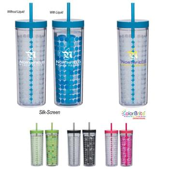 "16 Oz. Color Changing Tumbler - Circles Change Color With Temperature | Comes With A Matching 9"" Straw 