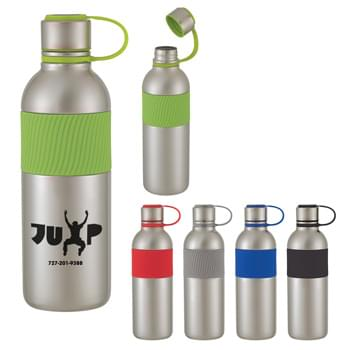 30 Oz. Zarah Stainless Steel Bottle - Self-Attached, Screw On, Spill-Resistant Lid | Silicone Band For Easy Comfort Grip   | Non-Slip Bottom  | Meets FDA Requirements  | BPA Free   | Hand Wash Recommended