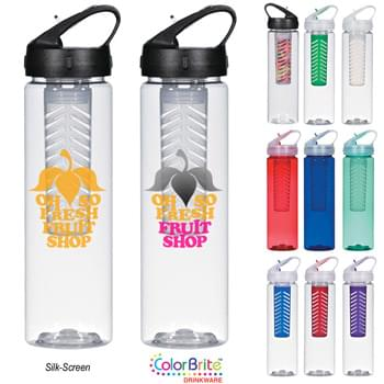 25 Oz. Fruit Fusion Bottle - Flavor Your Beverage With Your Choice Of Fresh Fruits Or Herbs | Made With PET Material | Made In The USA | Screw On, Spill-Resistant Sip Top Lid | Easy Carry Handle | Usable With Or Without Infuser Chamber | Meets FDA Requirements | BPA Free | Hand Wash Recommended