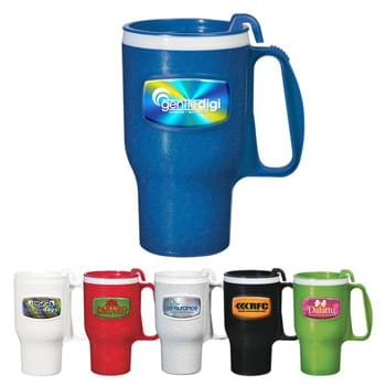 16 Oz. Extreme Travel Mug - 4-Color Process Dome Included | Made In The USA | Executive 4 Finger Ergonomic Handle | High Gloss Finish | Spill-Resistant, 2 Piece Thumb-Slide Lid | BPA Free | Fits Most Automotive Drink Holders | Meets FDA Requirements | Hand Wash Recommended | Double Wall Construction For Insulation Of Hot Or Cold Liquids
