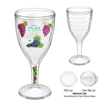 12 Oz. Wine Glass - SAN Material   | Optional Lid  | Double Wall Construction For Insulation Of Hot Or Cold Liquids  | Decoration Is Inserted Between The Clear Double Walls And Then Ultrasonically Sealed To Provide Double Wall Insulation  | Reduces Condensation Eliminating The Need For Coasters   | Optional Beads In Stem  | Meets FDA Requirements   | BPA Free  | Hand Wash Recommended