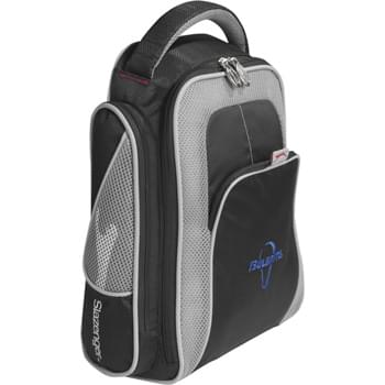 Slazenger Classic Shoe Bag - Large zippered main compartment holds up to U.S. men's size 13 shoes and features air mesh for ventilation. Open front pocket.  Zippered side mesh pockets. Strong, durable handle. Slazenger™ hardware and embroidery.