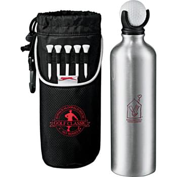 Slazenger Golf Bottle Pouch 24oz - Aluminum bottle lid includes 3-slot golf ball holder with ball. 5-slots for golf tees (tees included). Open front pocket. Drawstring closure. Rotating plastic clip. Piping accents and signature Slazenger™ branding.  24 oz.