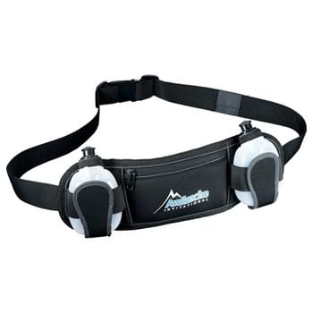 Slazenger Reflective Fitness Hydration Belt - For fitness and safety outdoors, the Slazenger Reflective Fitness Dual Hydration Belt incorporates black reflective trim that blends in with dark surfaces during the day light and shines a bright white reflection at night. Expandable fitness/running belt includes two 6.8oz. squeeze hydration bottles. Front zippered neoprene pocket is perfect for storing your smartphone, iPhone, or valuables while in use.