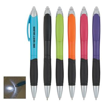 Luminous Top Pen - CLOSEOUT! Please call to confirm inventory available prior to placing your order!<br />Extra Bright White LED Light | Twist Action | Push Top To Turn Light On/Off | Rubber Grip For Writing Comfort And Control | Battery Included