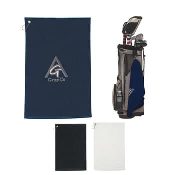 Golf Towel - 100% Cotton | Unfolded With Metal Grommet And A Hook