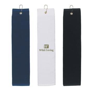 Folded Golf Towel - 100% Cotton | Tri-Folded With Metal Grommet And A Hook