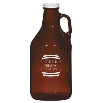 32 Oz. Amber Malt Growler - Colored Glass Jug With Neck Handle | Twist-Top Lid Included | Do Not Microwave | Made In The USA | Hand Wash Only