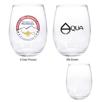 15 Oz. Wine Glass - Highest Standard Glass Material  | Large Stemless Design With Brim | Clear Goose Egg Glass Design  | Made In The USA  | Perfect For Restaurants, Bars And More!