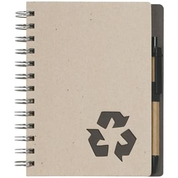 "Eco-Inspired 5"" X 7"" Spiral Notebook & Pen - 80 Page Lined Notebook With Recycled Symbol On Bottom Corner Of Pages 