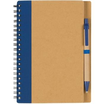 Eco-Inspired Spiral Notebook & Pen - 80 Page Lined Notebook With Recycled Symbol On Bottom Corner Of Pages | Matching Pen Has Paper Barrel | Elastic Pen Loop