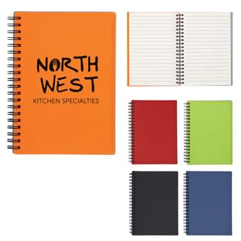 "5"" X 7"" Rubbery Spiral Notebook - Rubberized Cover And Cardboard Back 
