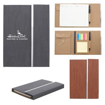 "5"" x 7"" Woodgrain Padfolio With Sticky Notes And Flags - 70 Page 4 ¼"" x 6 "" Lined Note Pad 