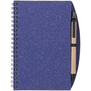 "5"" x 7"" Eco-Inspired Spiral Notebook & Pen - Sturdy Paper Cover 
