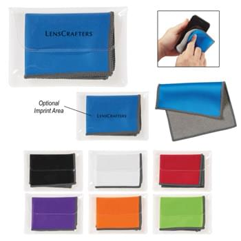 "Dual Microfiber Cleaning Cloth - 7 ½"" W x 5 ½"" H Cloth 
