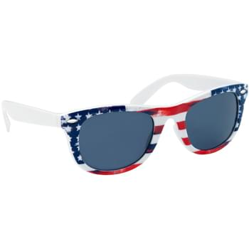 Patriotic Malibu Sunglasses - Made of Polycarbonate Material   | Vintage Look Distressed American Flag Pattern    | UV400 Lenses Provide 100% UVA and UVB Protection