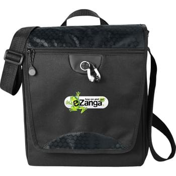 Hive Tablet Messenger Bag - Main compartment is padded for your tablet or iPad. Large enough to fit your folders or catalogs in addition to your tablet. Front zippered pocket offers additional storage. Adjustable shoulder strap.