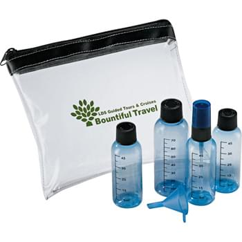 Aero-Safe (Travel Kit) - Pack your favorite shampoo, conditioner, hairspray, and lotions in your carry-on with this TSA-compliant kit. Four colored bottles (including one spray bottle). Funnel for transferring liquids.