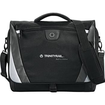 "Slope Compu-Messenger Bag - Large main zippered compartment with built-in laptop sleeve (holds 15"" laptop), additional rear compartment behind laptop sleeve. Features zippered front pocket with earbud port, organization panel under front flap, rear pocket with velcro closure. Detachable, adjustable shoulder strap."